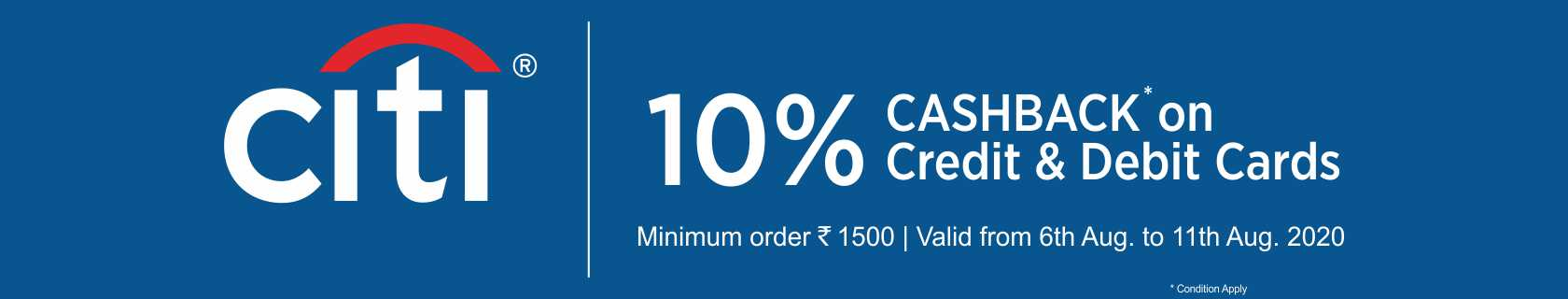 10% Cashback on CityBank credit and debit card