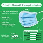 Protective mask with 3 layers of protection (Pack of 50)
