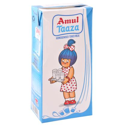 Amul Taaza Homogenised Toned Long Life Milk 1 L (Tetra Pak)