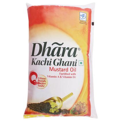 Dhara Kachi Ghani Mustard Oil 1 L (Pouch)
