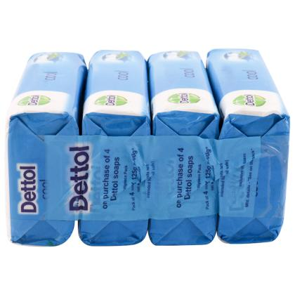 Dettol Cool Soap with Crispy Menthol 125 g (Pack of 4)