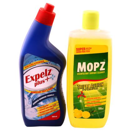 Expelz Plus Toilet Cleaner with Mopz Fresh Lime Surface Cleaner Combo Pack (500 ml + 500 ml)