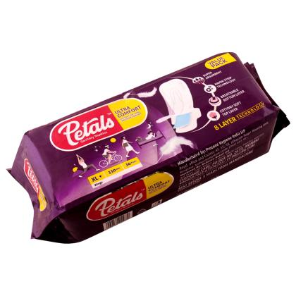 Petals Ultra Comfort Sanitary Napkins with Wings (XL+) 30 pads