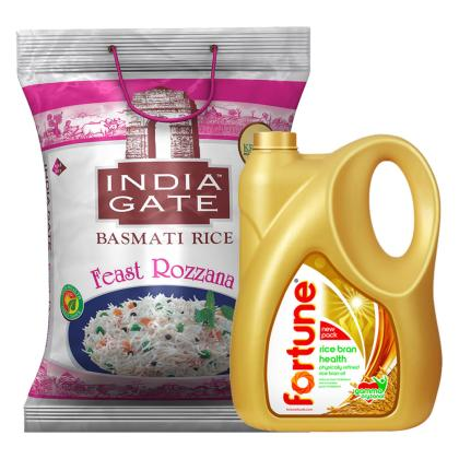 Fortune Health Physically Refined Rice Bran Oil 5 L + India Gate Feast Rozzana Basmati Rice 5 kg Combo Pack