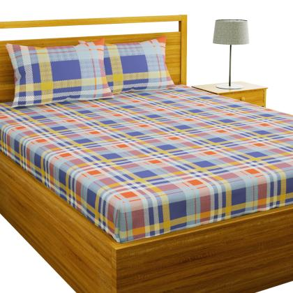 Purple Checks Cotton Double Bed Sheet, What Size Is A Double Bed Cover In Cm