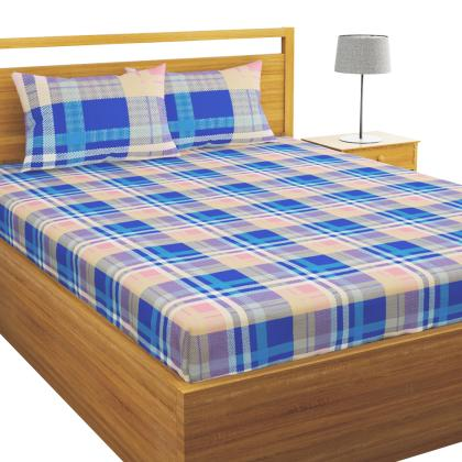 Bianca Pink And Navy Checks Double Bed, What Size Is A Double Bed Sheet In Inches